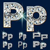 Ultimate vector alphabet of diamonds and platinum ingot. Six options. Letter p