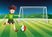 Illustration of a boy kicking the ball with the flag of Mexico