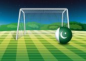 Illustration of a soccer ball with the Pakistan flag