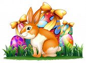 Illustration of a cute bunny in front of the Easter eggs on a white background
