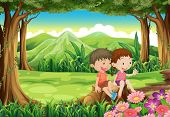 Illustration of a stump with two adorable kids