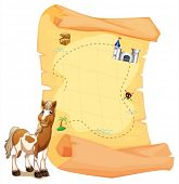 Illustration of a treasure map beside a smiling horse on a white background