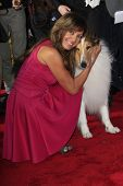 LOS ANGELES - MAR 5: Allison Janney, Lassie at the premiere of 'Mr. Peabody & Sherman' at Regency Vi