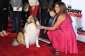 LOS ANGELES - MAR 5: Allison Janney, Lassie, Max Charles at the premiere of 'Mr. Peabody & Sherman'