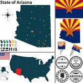 Map Of State Arizona, Usa