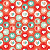 Seamless valentine round love bubbles in mint and coral background pattern in vector
