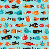 Seamless cute little fish types ocean life background pattern in vector