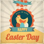 Vintage Easter card. Vector illustration.