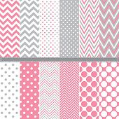Polka Dot and Chevron seamless pattern set - Illustration A set of 12 Polka Dot and Chevron seamless