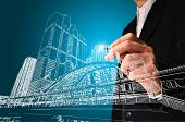 Business Man Or Achitect Draw The Drawing Of Building Or Cityscape