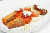 picture of phyllo dough  - Dessert on plate in a restaurant - JPG