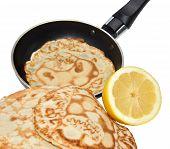 Fresh Pancakes And Frying Pan