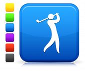 Golf Player Icon on Square Internet Button Collection