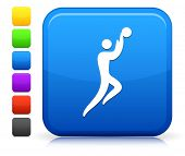 Basket Ball Icon on Square Internet Button Collection