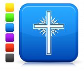 Christian Cross Icon on Square Internet Button Collection