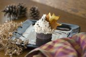 foto of jimmy  - A chocolate cupcake with vanilla cream frosting and chocolate jimmy sprinkles featuring a fondant maple leaf in the frosting. ** Note: Shallow depth of field - JPG