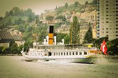 Old steamship near Montreux.