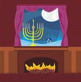 Candlestick In Window - Hanukkah