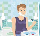 Young Man Shaving In Bathroom Mirror