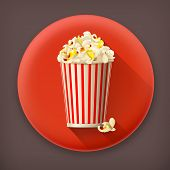 Popcorn long shadow vector icon
