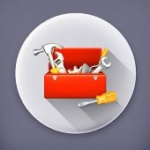 Red toolbox, long shadow vector icon