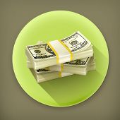 Stack of money long shadow vector icon