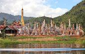 Ancient flooded pagodas in ruins near Samkar village on Inle lake, Shan state, Myanmar
