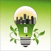 Lightbulb With City Plug And Socket Green Concept