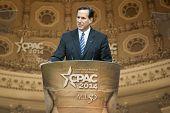 NATIONAL HARBOR, MD - MARCH 7, 2014: Former U.S. Senator Rick Santorum speaks at the Conservative Po