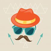 Design with hat, glasses and mustache in hipster style.