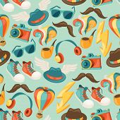 Hipster style seamless pattern.