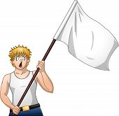 Guy Holds White Flag And Shouts