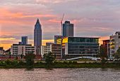 Sunset  With Cityview Of Frankfurt With River Main