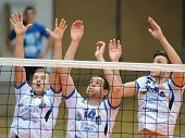 KAPOSVAR, HUNGARY - FEBRUARY 25: Kaposvar players in action at a Hungarian National Championship vol