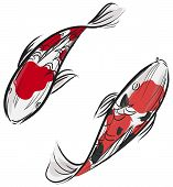 Artisic Professional Painting Of Carp Fish (koi) With Japanese Art Style In Vector