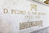 Lisbon, Portugal - September 15, 2013: Tomb of the 1st Emperor of Brazil, Pedro I (IV of Portugal). Royal Pantheon of the House of Braganza. Sao Vicente de Fora Monastery. Lisbon.
