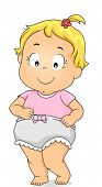 Illustration of a Smiling Baby Girl Wearing Bloomers
