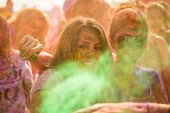 People Celebrating Holi Festival Of Colors.