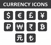 Currency Icons Set. White Over Black.