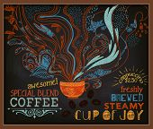 Chalkboard Poster for Coffee Shop - Colorful blackboard advertisement for coffee shop, with steamy cup of coffee and specials - hand drawn, doodle chalks, vintage style marketing