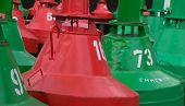Green And Red Beacon Bouy In Emmerich