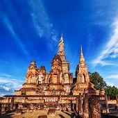 Sukhothai Historical Park. Wat Mahathat Temple under blue sky. Thailand
