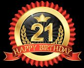 21 Years Happy Birthday Golden Label With Ribbons, Vector Illustration