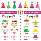 stock photo of mustache  - Photobooth Birthday and Party Set  - JPG