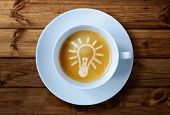 Coffee cup with light bulb idea in the froth concept for ideas, creativity and innovation