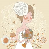 Beautiful bride with flowers in vector. Cute invitation card with brunette girl in wedding dress wit