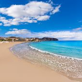 Moraira Playa la Ampolla beach in Teulada Alicante at Mediterranean Spain