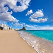 Calpe playa Arenal Bol beach near Penon de Ifach at Alicante spain