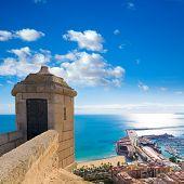 Alicante Postiguet beach view from Santa Barbara Castle of Spain
