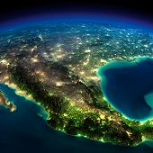 Night Earth. A Piece Of North America - Mexico